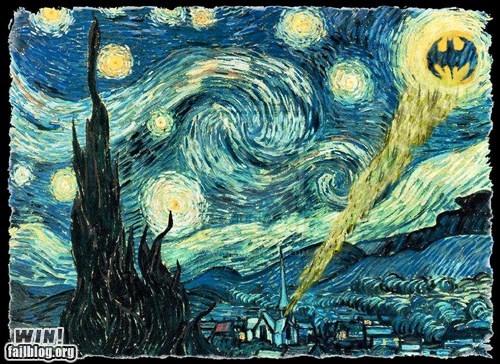 art,Bat signal,batman,clever,Hall of Fame,nerdgasm,starry night,Van Gogh