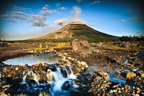 awesome,blue sky,clouds,getaways,mountain,philippines,volcano,water