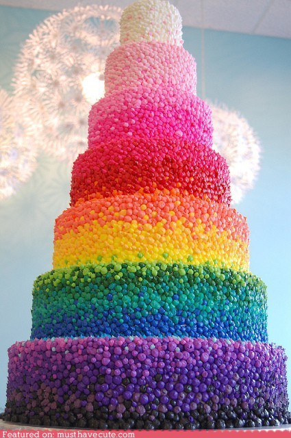 cake,epicute,frosting,piped,rainbow,tiered
