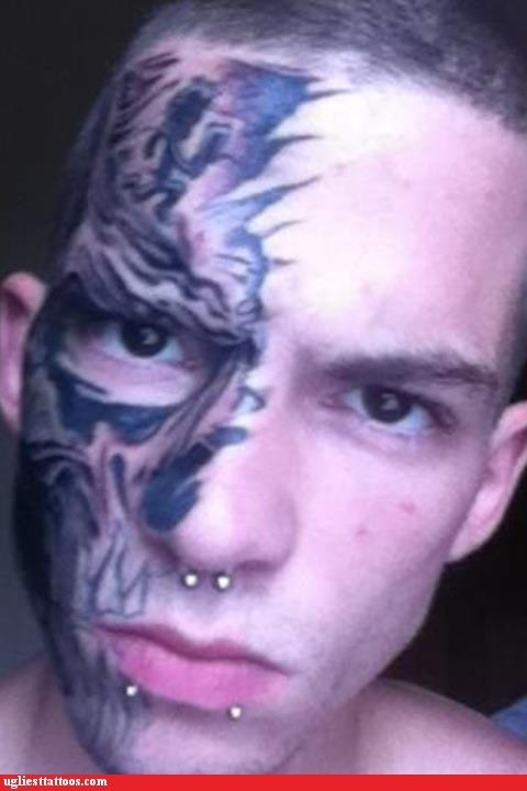 face tats,juggalos,piercings,weaponry