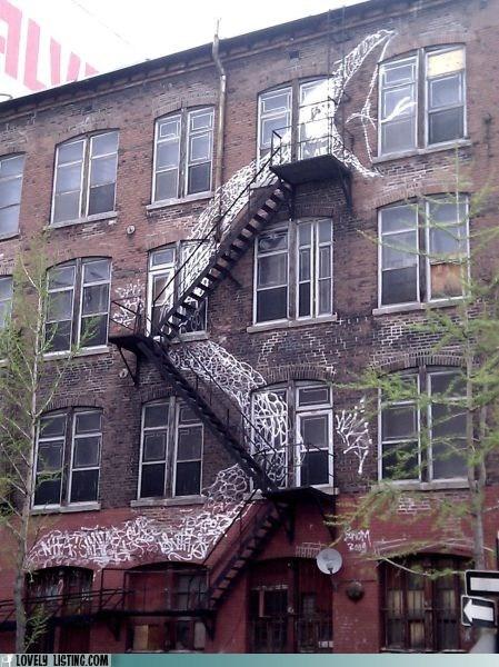 fire escape,graffiti,paint,snake