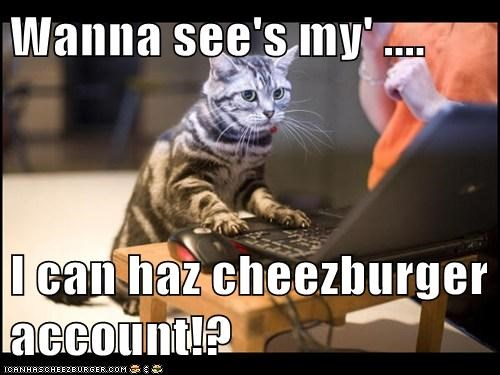 Wanna see's my' ....  I can haz cheezburger account!?
