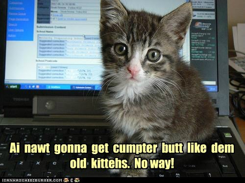 Ai  nawt  gonna  get  cumpter  butt  like  dem  old  kittehs.  No way!