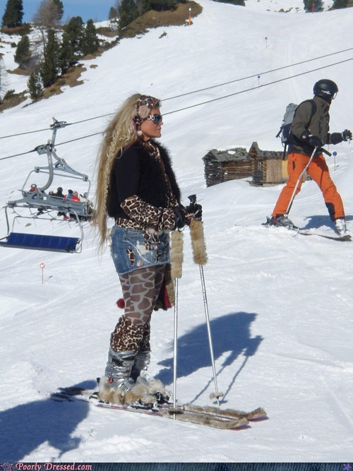 Maybe she didn't know she was going skiing today?