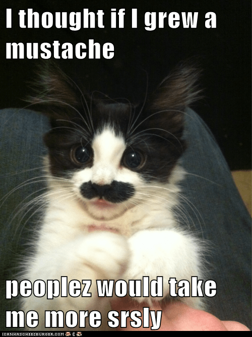 I thought if I grew a mustache  peoplez would take me more srsly