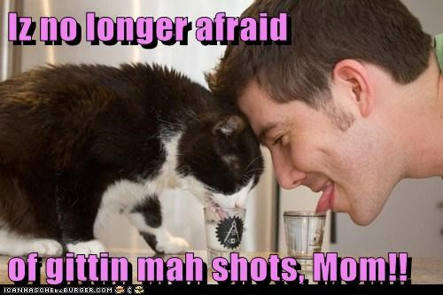 afraid,alcohol,caption,captioned,cat,double meaning,drinking,getting,human,i am,longer,mom,no,pun,shot glass,shots