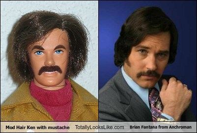 Mod Hair Ken with Mustache Totally Looks Like Brian Fantana from Anchorman