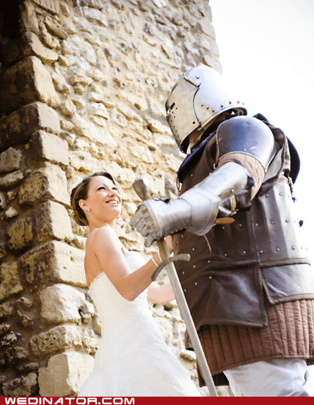 armor,armour,bride,funny wedding photos,groom,knight,medieval