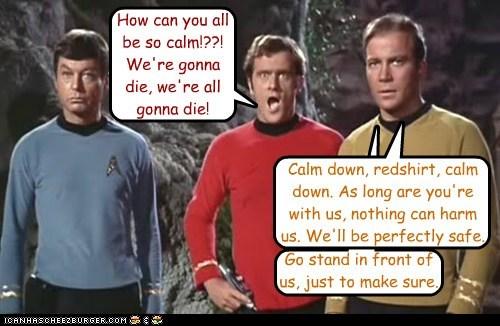Captain Kirk,DeForest Kelley,die,first,McCoy,redshirt,Shatnerday,Star Trek,William Shatner