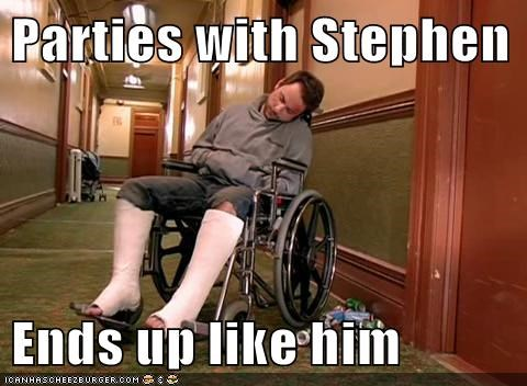 Parties with Stephen  Ends up like him