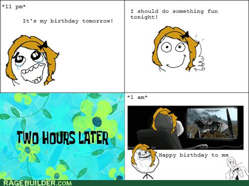 birthday,forever alone,Rage Comics,Skyrim,video games