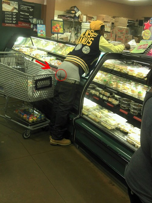 bakery,grocery,low pants,pants sagging,store,underwear