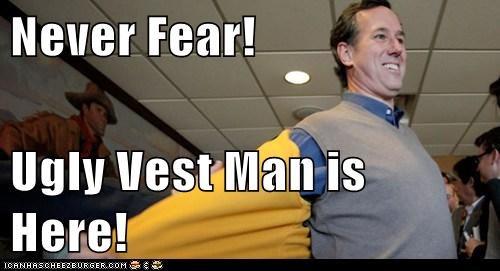 political,presidential campaign,Pundit Kitchen,republican,Rick Santorum,ugly vest,ugly vest man