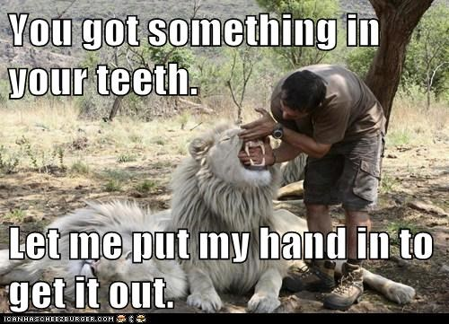 You got something in your teeth.  Let me put my hand in to get it out.
