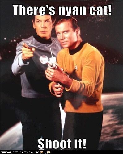 Captain Kirk,Leonard Nimoy,meme,Nyan Cat,Shatnerday,shoot,Spock,Star Trek,William Shatner