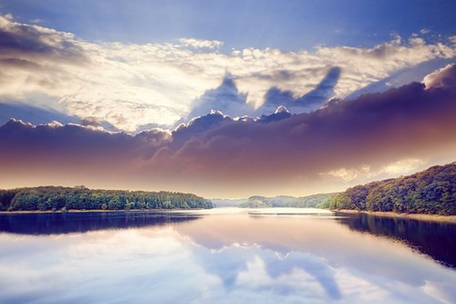 clouds,colorful,Forest,getaways,horizon,lake,trees,unknown location,vivid colors