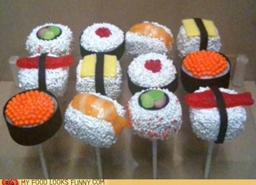 cake,cake pops,chocolate,frosting,sprinkles,sugar,sushi