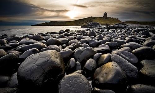 beach,britain,castle,clouds,england,getaways,gray,grey,horizon,rocks,UK,water