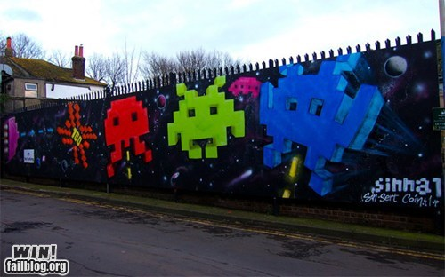 Space Invaders Street Art WIN