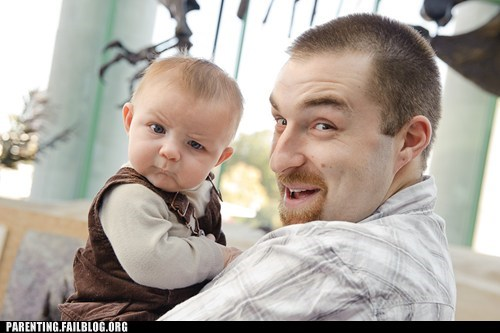 baby,derp,eyebrow,family photo,family portrait,Father,Parenting Fail