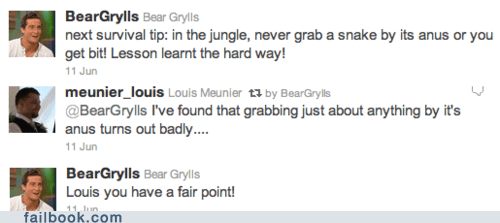 anus,bear grylls,classic,failbook,good point,g rated,social media,twitter