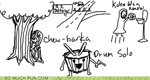 bark,characters,chew,chewbacca,detour,drum,Han Solo,kobe bryant,obi-wan kenobi,original,r2d2,similar sounding,sketches,star wars
