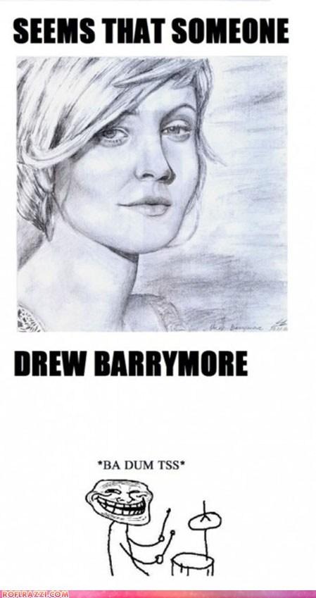 actor,art,celeb,drew barrymore,funny,Hall of Fame,meme,pun