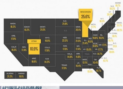 Booze News: American Binge Drinkers By Percentage