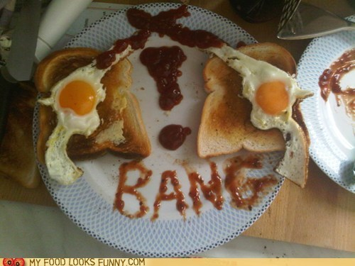 bang,breakfast,eggs,guns,ketchup,meal,toast