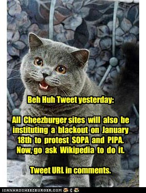 Important and pass on: Ben Huh will blackout all cheezburger Sites 18 Jan to protest SOPA.