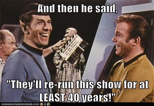 Captain Kirk,laughing,Leonard Nimoy,rerun,Shatnerday,Spock,Star Trek,William Shatner,years