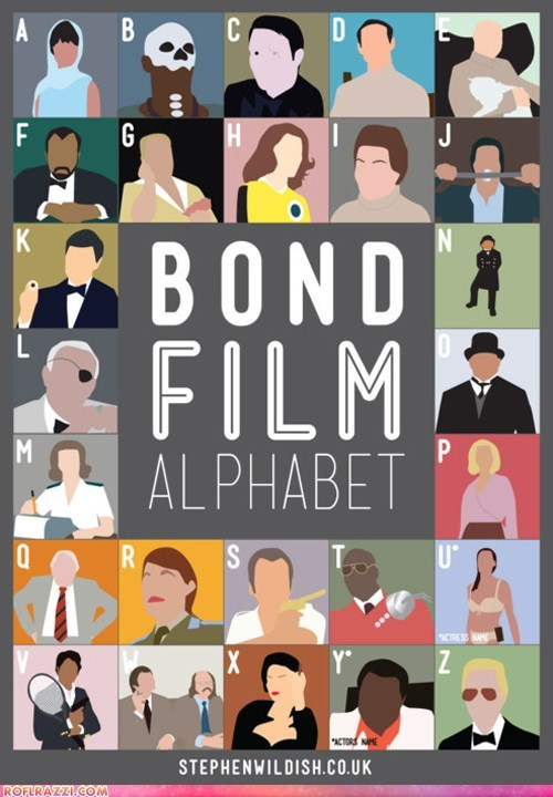 alphabet,art,film,funny,james bond,Movie