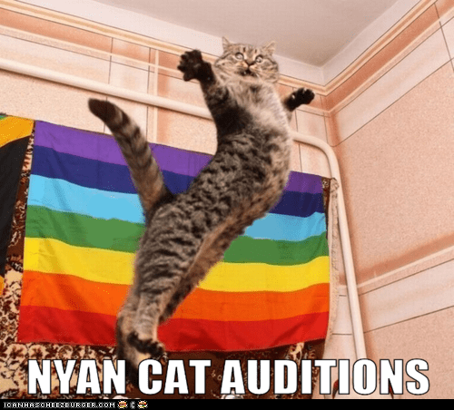 auditions,best of the week,epic,flags,gay pride,Hall of Fame,jump,jumping,leaping,Nyan Cat,rainbows