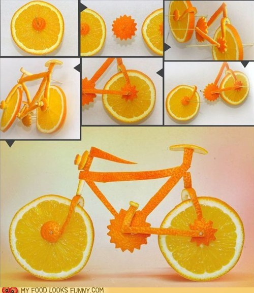 art,bike,carved,citrus,orange,sculpture
