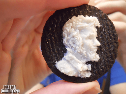 abraham lincoln,carving,cookies,food,frosting,oreo
