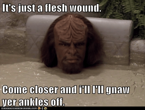 ankles,closer,flesh wound,invincible,Michael Dorn,monty python and the holy,Star Trek,TNG,Worf