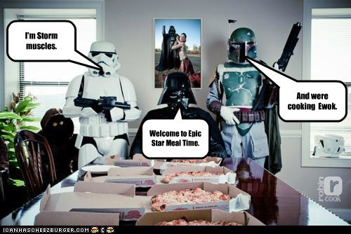 boba fett,darth vader,epic meal time,ewok,star wars,stormtrooper