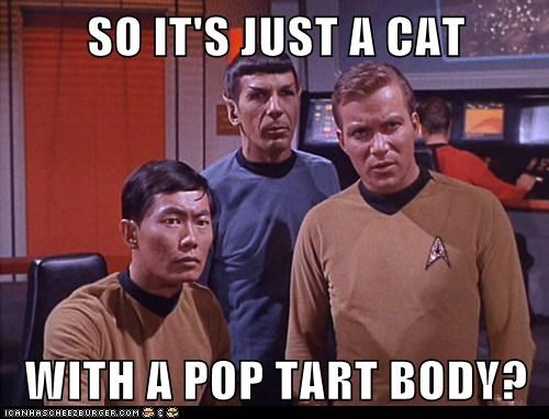 Captain Kirk,cat,george takei,Leonard Nimoy,Nyan Cat,phasers,pop tart,Shatnerday,Spock,Star Trek,William Shatner
