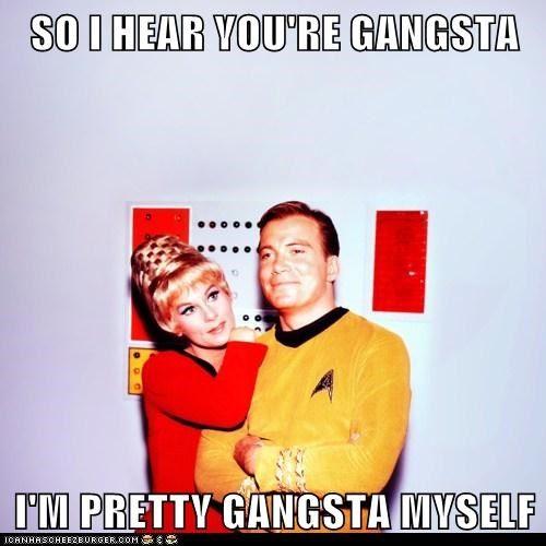 Captain Kirk,gangsta,grace lee whitney,i hear,janice rand,myself,Shatnerday,smooth,Star Trek,William Shatner