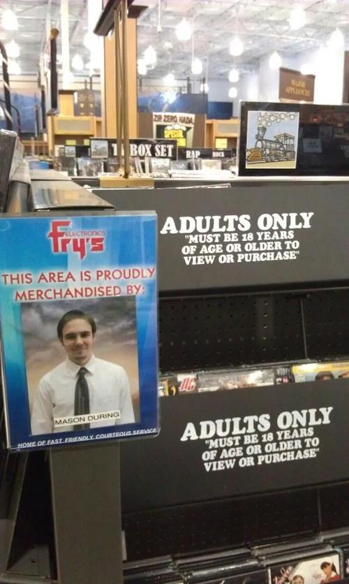 adults only section,frys,pr0n,proud employee