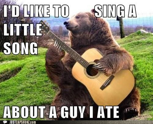 animals,bear,bear playing guitar,caption contest,folk music,folk singer,guitar,photoshopped,sing a little song