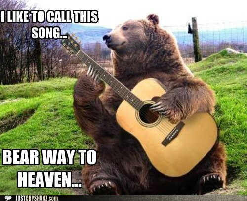animals,bear,bear playing guitar,caption contest,folk music,folk singer,guitar,led zeppelin,photoshopped,rock and roll,stairway to heaven