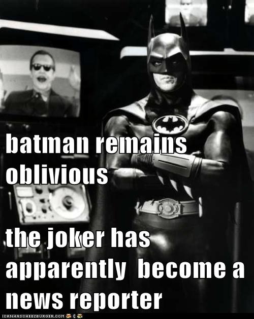 batman remains oblivious  the joker has apparently  become a news reporter