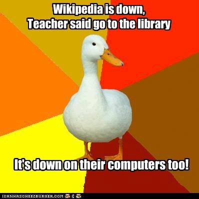 blackout,computers,library,Technologically Impaired Duck,wikipedia