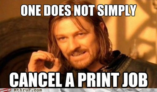 Monday Thru Friday: Only after you print 17 half pages will you be allowed to cancel