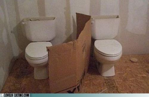 bathroom,cardboard,privacy,toilets,wall
