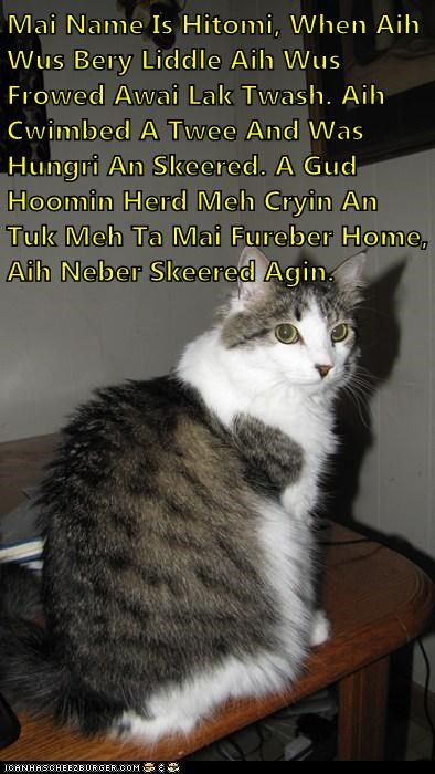 Mai Name Is Hitomi, When Aih Wus Bery Liddle Aih Wus Frowed Awai Lak Twash. Aih Cwimbed A Twee And Was Hungri An Skeered. A Gud Hoomin Herd Meh Cryin An Tuk Meh Ta Mai Fureber Home, Aih Neber Skeered Agin.