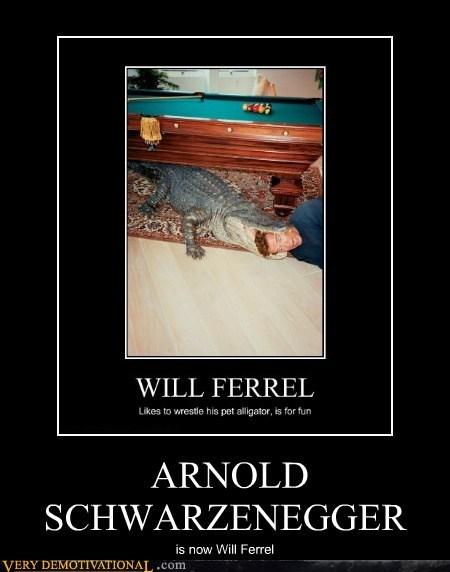 aligator,arnold schwartzenegger,hilarious,Will Ferrel