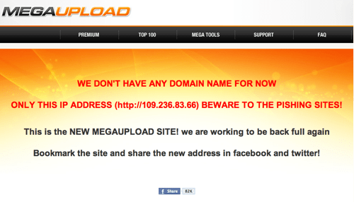 Another Follow Up of the Day: Megaupload Apparently Back Up Without a Domain Name