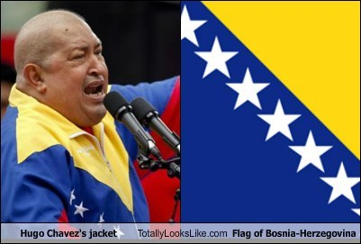 Hugo Chavez's Jacket Totally Looks Like Flag of Bosnia-Herzegovina